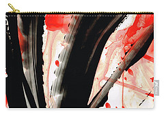 Carry-all Pouch featuring the painting Black White Red Art - Tango 2 - Sharon Cummings by Sharon Cummings