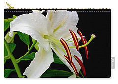 Blackdrop Behind White Lily Carry-all Pouch by Marsha Heiken