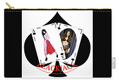 Carry-all Pouch featuring the digital art Black Jack Spades by Joseph Ogle