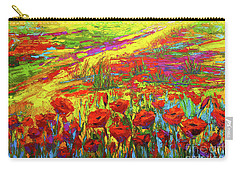 Blanket Of Joy Modern Impressionistic Oil Painting Of Poppy Flower Field Carry-all Pouch