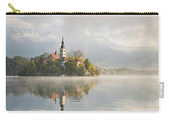 Bled Lake On A Beautiful Foggy Morning Carry-all Pouch by IPics Photography