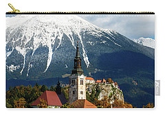 Bled Lake With Snow On The Mountains In Autumn Carry-all Pouch