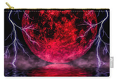 Blood Moon Over Mist Lake Carry-all Pouch by Naomi Burgess
