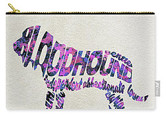 Carry-all Pouch featuring the painting Bloodhound Dog Watercolor Painting / Typographic Art by Ayse and Deniz
