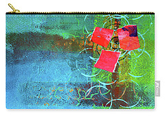 Carry-all Pouch featuring the mixed media Bloom Abstract Collage by Nancy Merkle