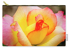 Blooming Yellow And Pink Rose Carry-all Pouch by Teri Virbickis