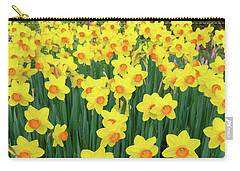 Carry-all Pouch featuring the photograph Blooming Yellow Daffodils by Hans Engbers