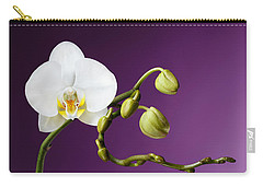 Blossoming White Orchid On Purple Background Carry-all Pouch