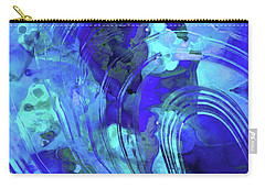 Carry-all Pouch featuring the painting Blue Abstract Art - Reflections - Sharon Cummings by Sharon Cummings