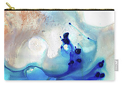 Carry-all Pouch featuring the painting Blue Abstract Art - The Long Wave - Sharon Cummings by Sharon Cummings