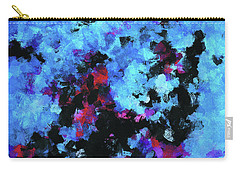 Carry-all Pouch featuring the painting Blue And Black Abstract Wall Art by Ayse Deniz