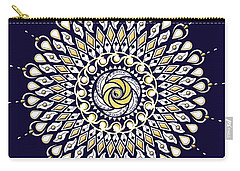 Blue And Gold Lens Mandala Carry-all Pouch