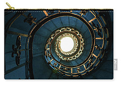 Carry-all Pouch featuring the photograph Blue And Golden Spiral Staircase by Jaroslaw Blaminsky