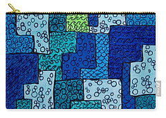 Carry-all Pouch featuring the drawing Blue And Green Abstract 2 by Megan Walsh