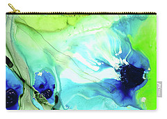 Carry-all Pouch featuring the painting Blue And Green Abstract - Land And Sea - Sharon Cummings by Sharon Cummings