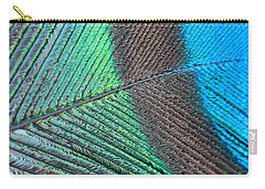 Blue And Green Feathers Carry-all Pouch