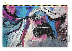 Carry-all Pouch featuring the painting Blue And Pink Abstract Painting by Ayse Deniz