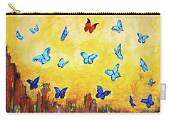Blue And Red Butterflies Carry-all Pouch by Haleh Mahbod