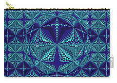 Blue And Turquoise Symmetrical Pattern, Kaleidoscope Carry-all Pouch