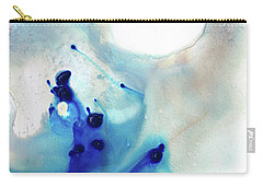Carry-all Pouch featuring the painting Blue And White Art - A Short Wave - Sharon Cummings by Sharon Cummings