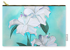 Carry-all Pouch featuring the mixed media Blue And White by Elizabeth Lock