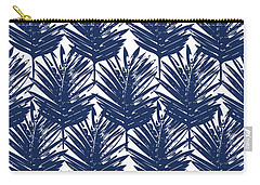 Blue And White  Palm Leaves 3 - Art By Linda Woods Carry-all Pouch