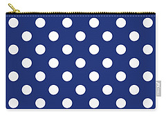 Carry-all Pouch featuring the mixed media Blue And White Polka Dots- Art By Linda Woods by Linda Woods