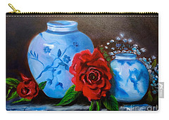 Blue And White Pottery And Red Roses Carry-all Pouch