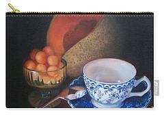 Blue And White Teacup And Melon Carry-all Pouch by Marlene Book
