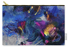 Carry-all Pouch featuring the painting Blue And Yellow Minimalist / Abstract Painting by Ayse Deniz