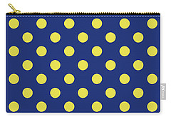 Carry-all Pouch featuring the mixed media Blue And Yellow Polka Dots- Art By Linda Woods by Linda Woods