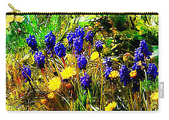 Blue And Yellow Wild Flower Medley Carry-all Pouch