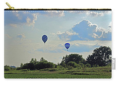 Carry-all Pouch featuring the photograph Blue Balloons Over A Field by Angela Murdock