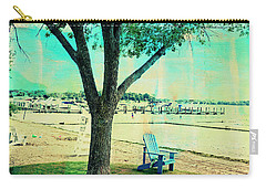 Carry-all Pouch featuring the photograph Blue Beach Chair by Susan Stone