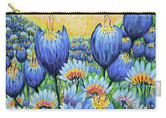 Carry-all Pouch featuring the painting Blue Belles by Holly Carmichael