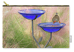 Blue Bird Bath Carry-all Pouch by Rosalie Scanlon