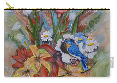 Carry-all Pouch featuring the painting Blue Bird Eats Thru The Painting by Kelly Mills