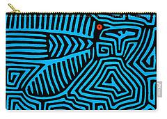 Carry-all Pouch featuring the digital art Blue Bird Mola by Vagabond Folk Art - Virginia Vivier