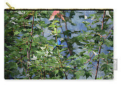 Carry-all Pouch featuring the photograph Blue Bird On Silk by Gary Smith