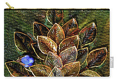 Blue Bird Singing In An Autumn Tree Carry-all Pouch by Donna Blackhall