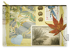 Carry-all Pouch featuring the mixed media Blue Birds Collage by Jan Bickerton