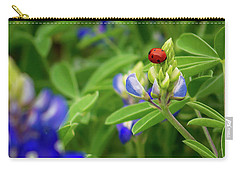 Texas Blue Bonnet And Ladybug Carry-all Pouch