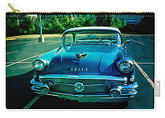 Carry-all Pouch featuring the mixed media Blue Buick by Terry Rowe