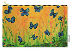 Blue Butterflies In Early Morning Garden Carry-all Pouch