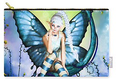 Blue Butterfly Fairy In A Tree Carry-all Pouch