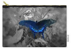 Blue Butterfly In Charcoal And Vibrant Aqua Paint Carry-all Pouch