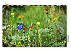 Blue Butterfly In Meadow Carry-all Pouch by John  Kolenberg