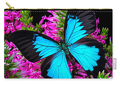 Blue Butterfly On Heather Carry-all Pouch