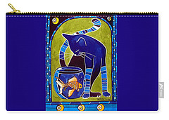 Carry-all Pouch featuring the painting Blue Cat With Goldfish by Dora Hathazi Mendes