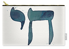Blue Chai- Hebrew Art By Linda Woods Carry-all Pouch by Linda Woods